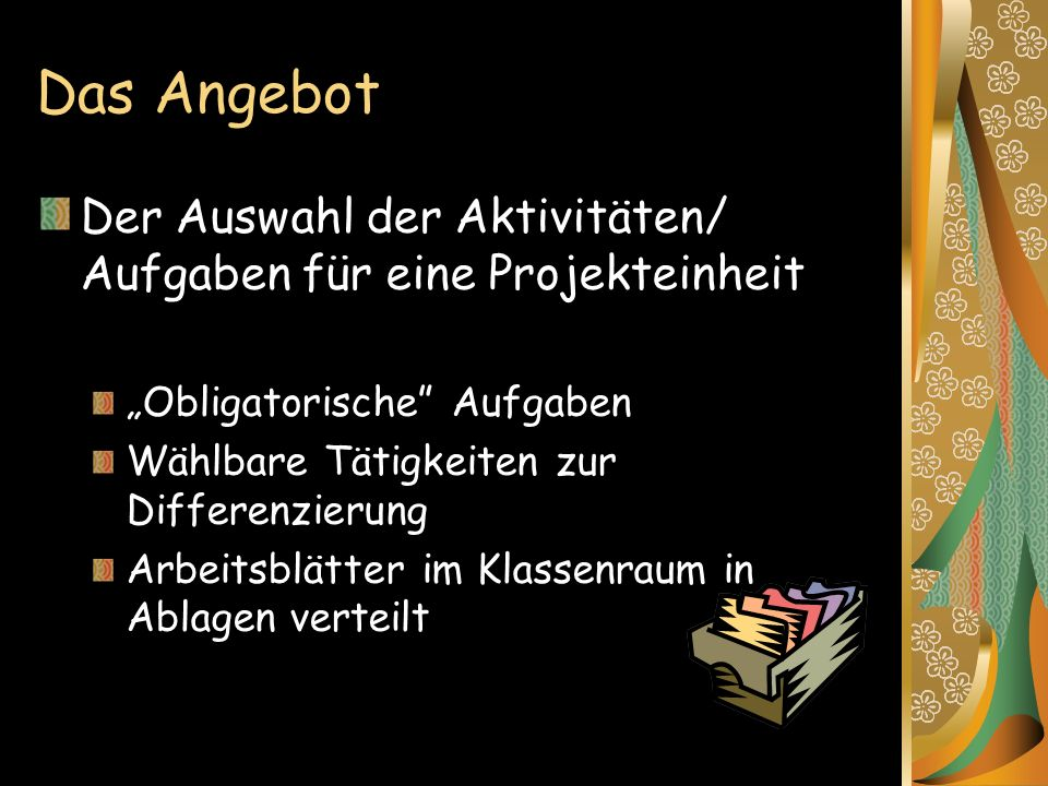 """Das Angebot Der Auswahl der Aktivitäten/ Aufgaben für eine Projekteinheit. """"Obligatorische Aufgaben."""
