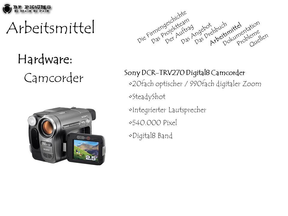 Arbeitsmittel Hardware: Camcorder Sony DCR-TRV270 Digital8 Camcorder