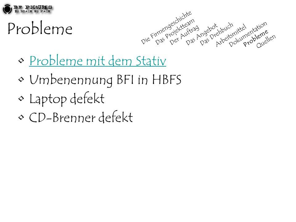 Probleme Probleme mit dem Stativ Umbenennung BFI in HBFS Laptop defekt