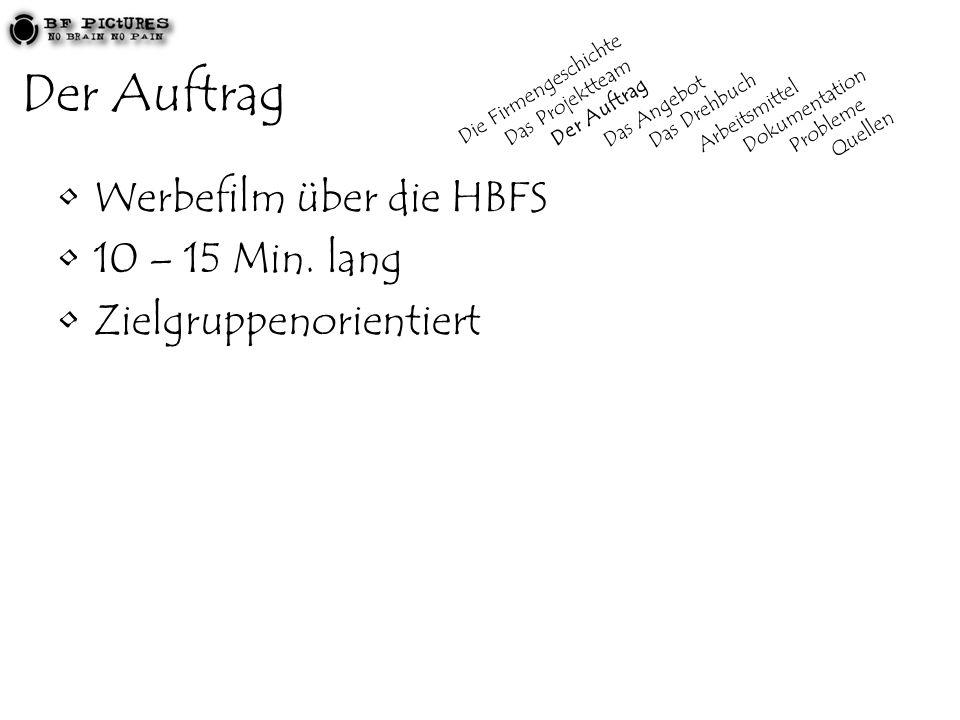 Der Auftrag Werbefilm über die HBFS 10 – 15 Min. lang
