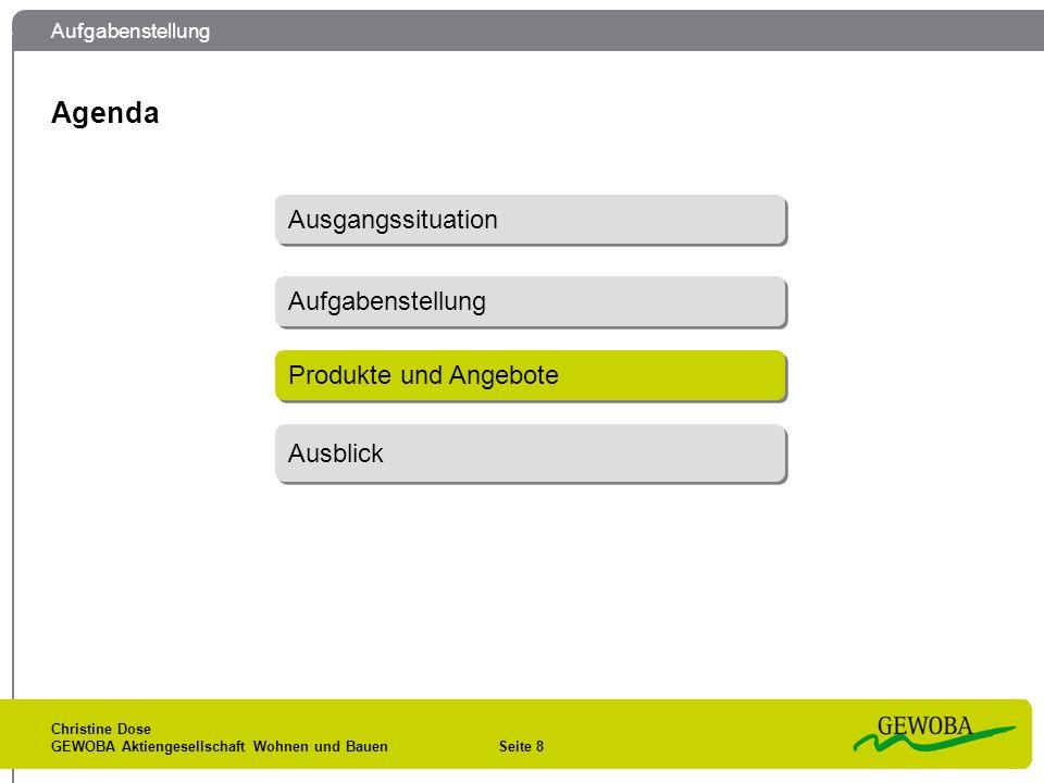Agenda Ausgangssituation Aufgabenstellung Produkte und Angebote