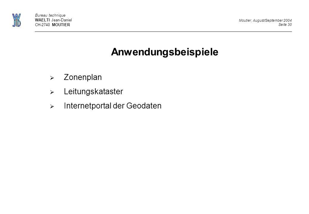 Anwendungsbeispiele Zonenplan Leitungskataster