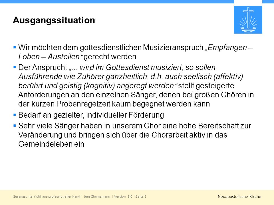 """Ausgangssituation Wir möchten dem gottesdienstlichen Musizieranspruch """"Empfangen – Loben – Austeilen gerecht werden."""