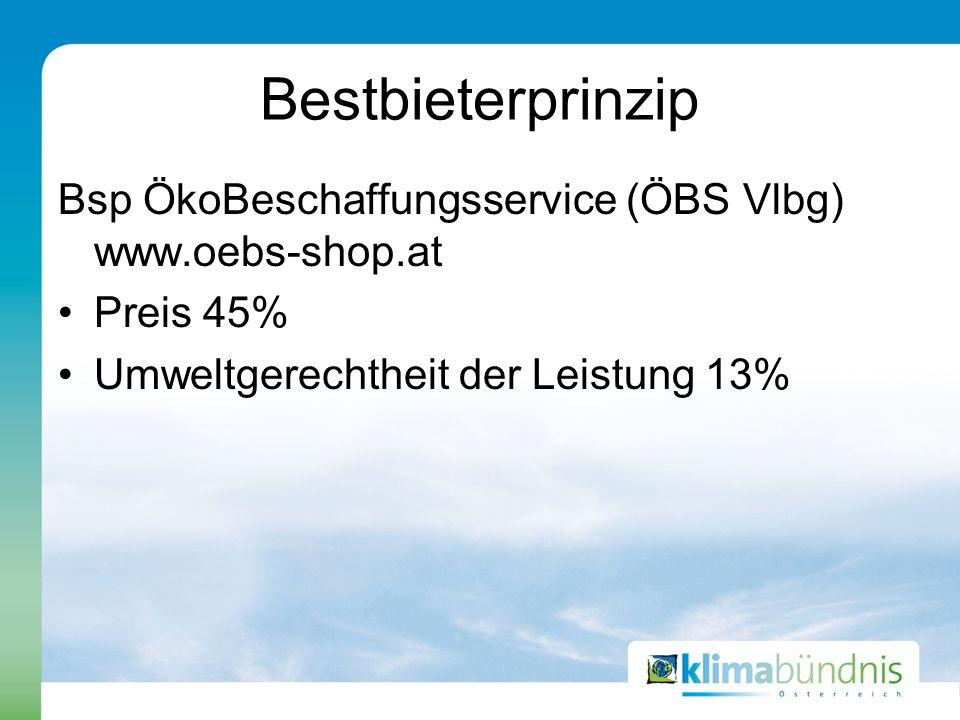 Bestbieterprinzip Bsp ÖkoBeschaffungsservice (ÖBS Vlbg) www.oebs-shop.at.