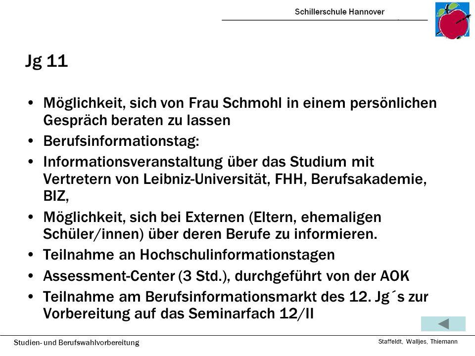 Jg 11 Möglichkeit, sich von Frau Schmohl in einem persönlichen Gespräch beraten zu lassen. Berufsinformationstag: