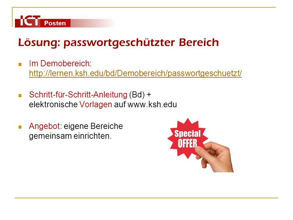 Lösung: passwortgeschützter Bereich