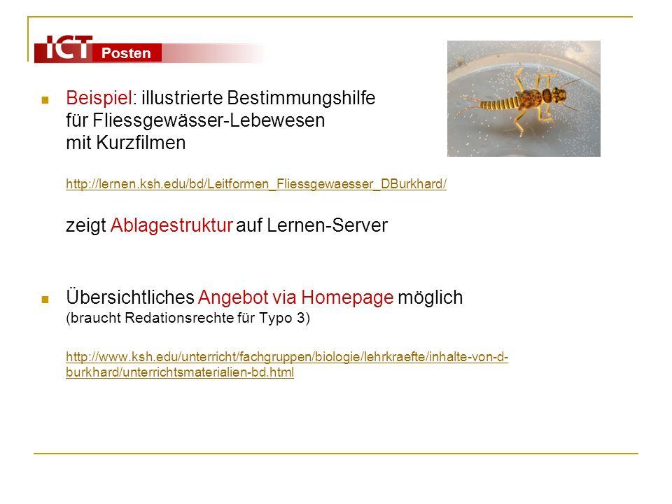 Beispiel: illustrierte Bestimmungshilfe für Fliessgewässer-Lebewesen mit Kurzfilmen http://lernen.ksh.edu/bd/Leitformen_Fliessgewaesser_DBurkhard/ zeigt Ablagestruktur auf Lernen-Server