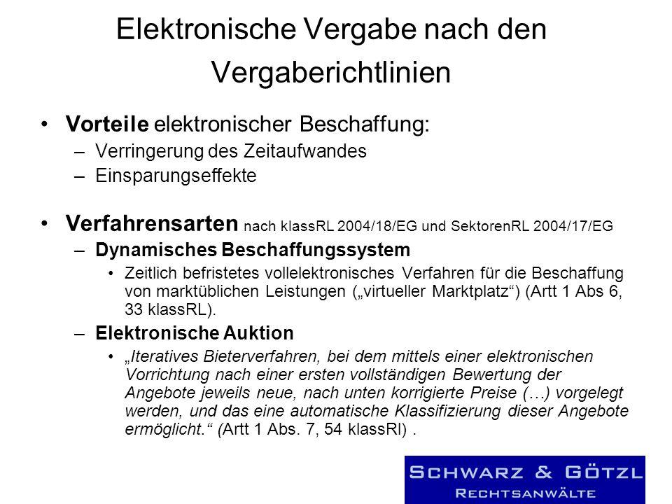 Elektronische Vergabe nach den Vergaberichtlinien