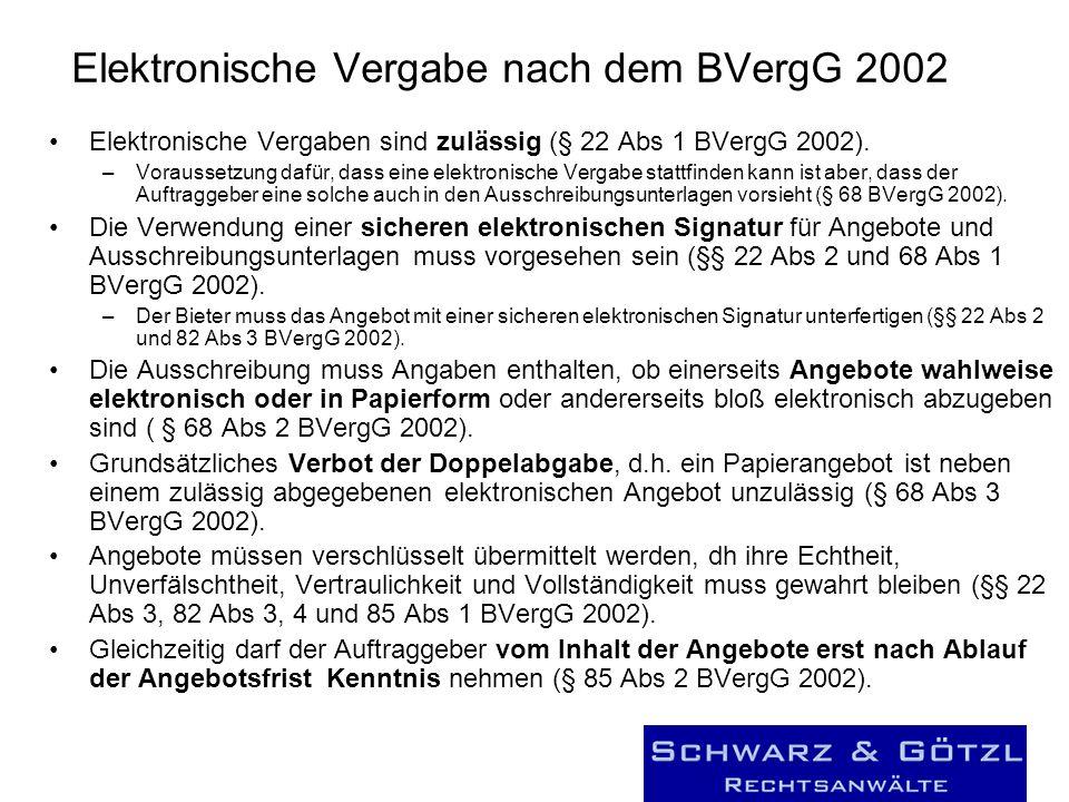 Elektronische Vergabe nach dem BVergG 2002