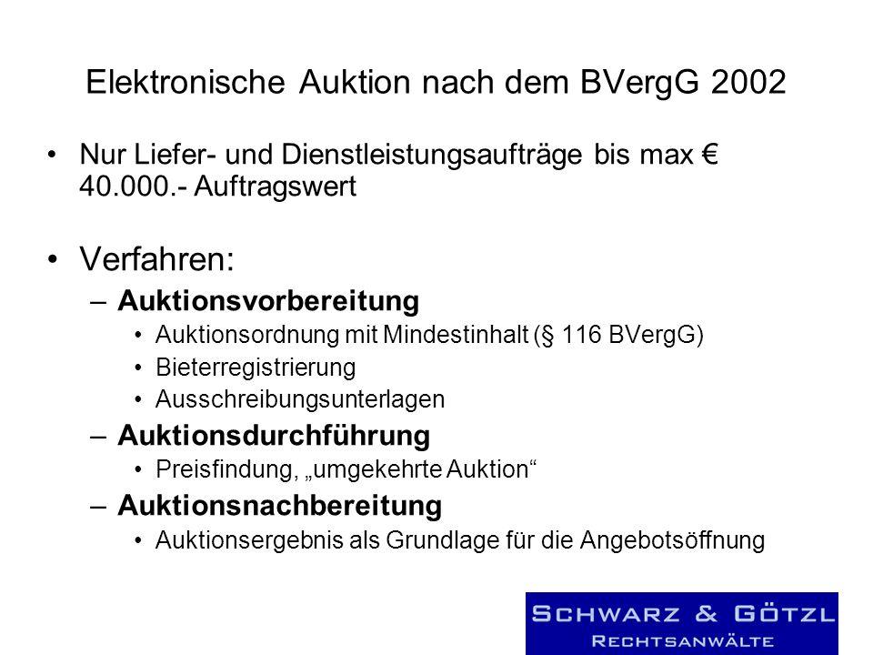 Elektronische Auktion nach dem BVergG 2002