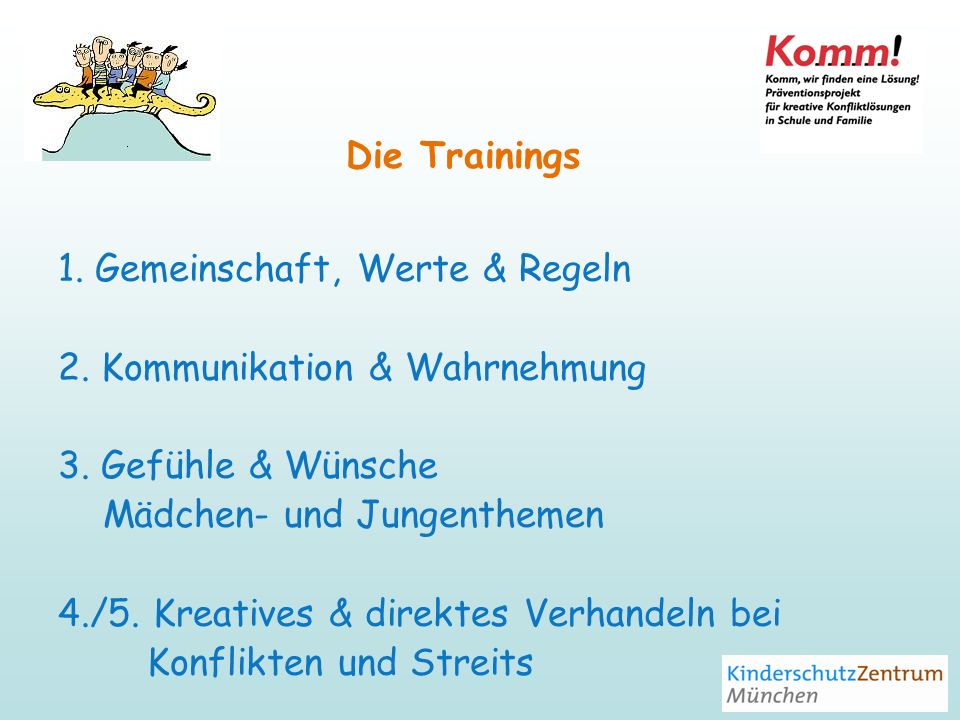 Die Trainings 1. Gemeinschaft, Werte & Regeln. 2. Kommunikation & Wahrnehmung. 3. Gefühle & Wünsche.
