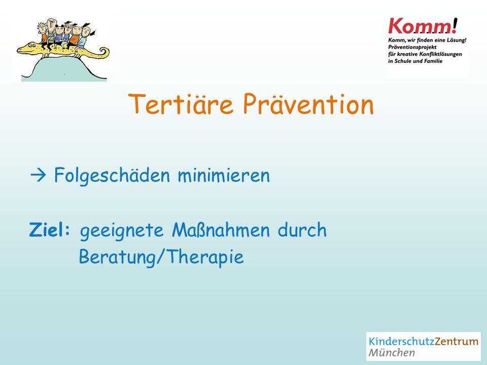 Tertiäre Prävention  Folgeschäden minimieren
