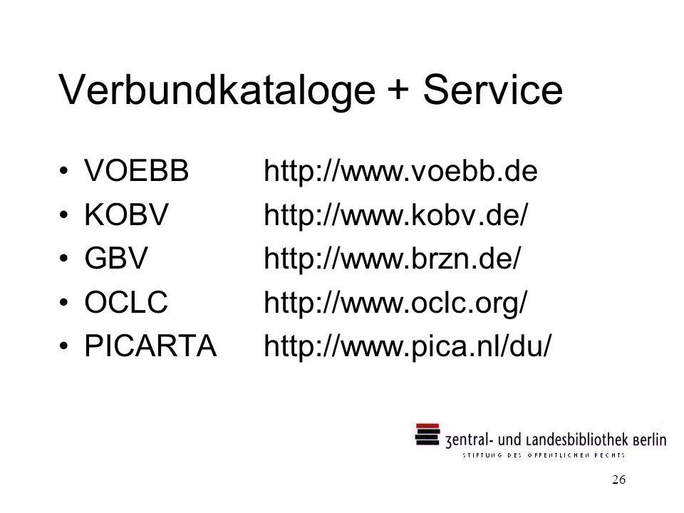 Verbundkataloge + Service