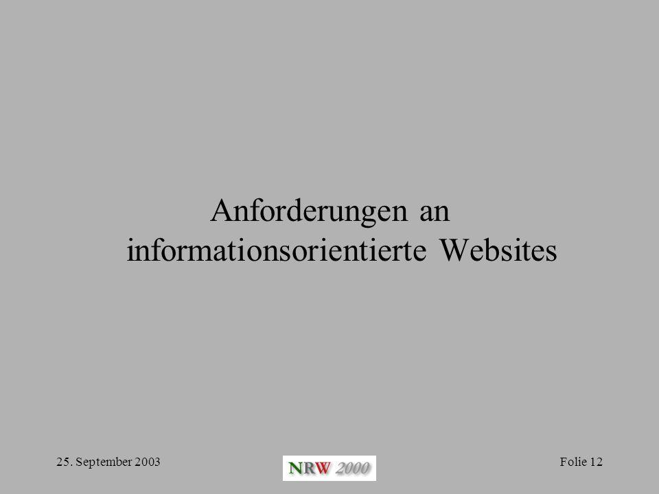 Anforderungen an informationsorientierte Websites