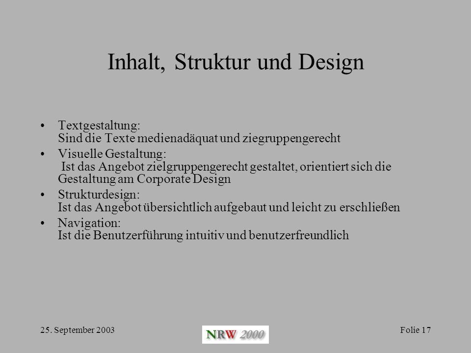Inhalt, Struktur und Design
