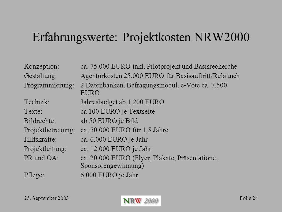 Erfahrungswerte: Projektkosten NRW2000