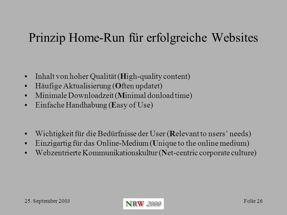 Prinzip Home-Run für erfolgreiche Websites