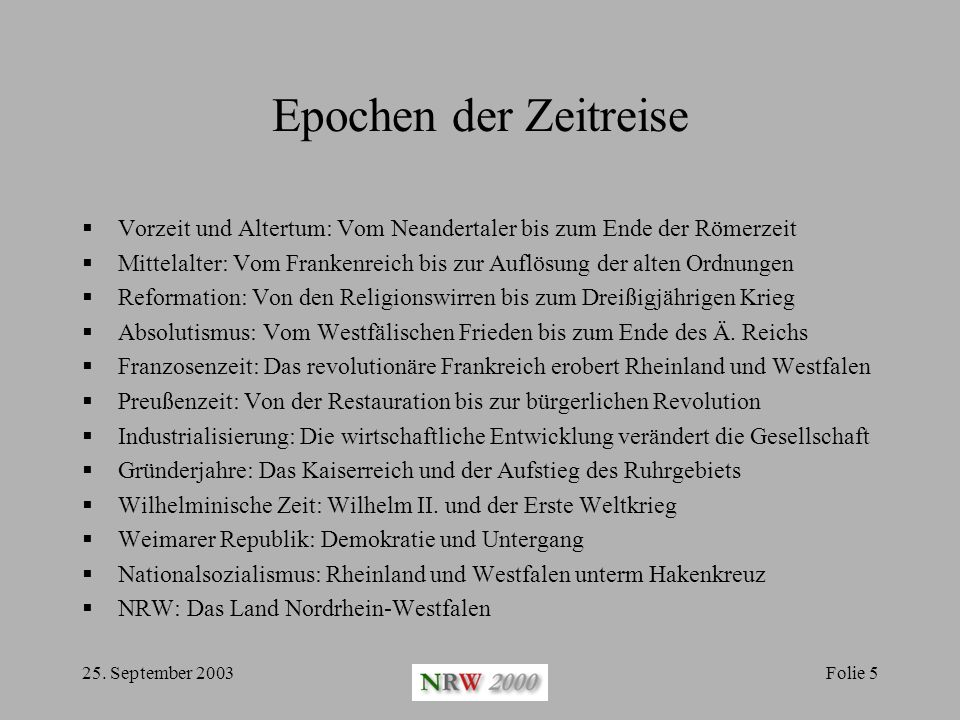 Epochen der Zeitreise Vorzeit und Altertum: Vom Neandertaler bis zum Ende der Römerzeit.
