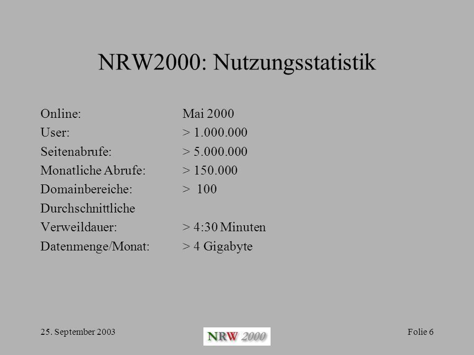 NRW2000: Nutzungsstatistik