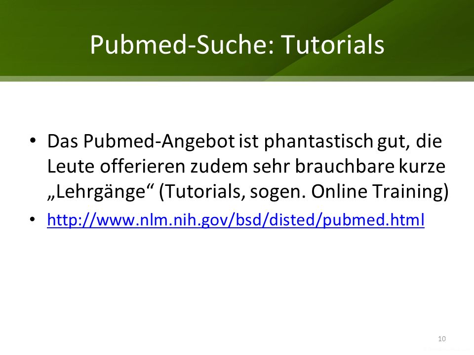 Pubmed-Suche: Tutorials