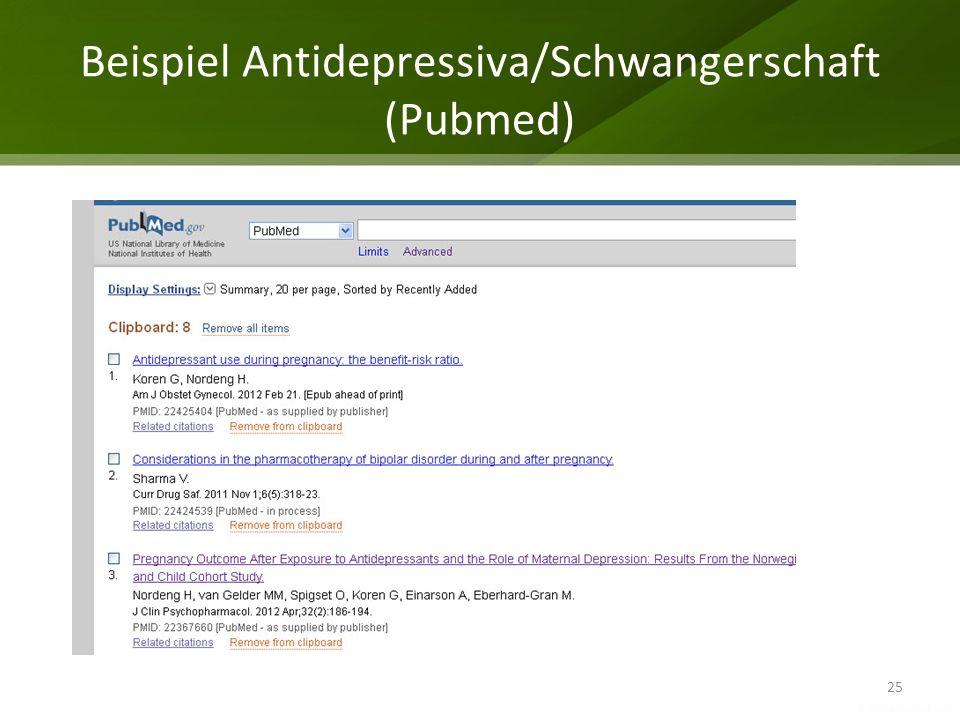 Beispiel Antidepressiva/Schwangerschaft (Pubmed)