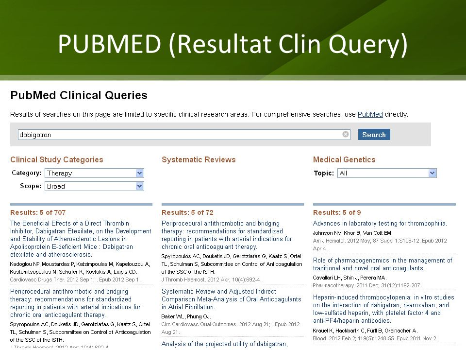 PUBMED (Resultat Clin Query)