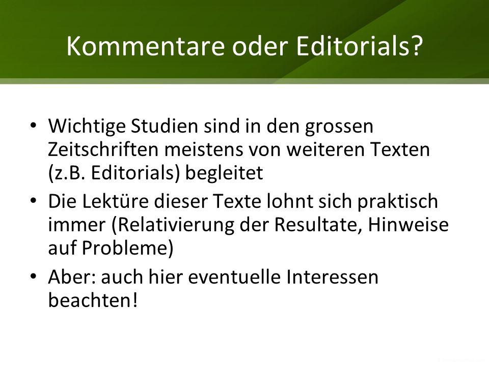 Kommentare oder Editorials