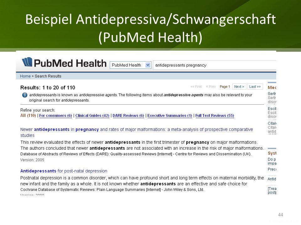 Beispiel Antidepressiva/Schwangerschaft (PubMed Health)