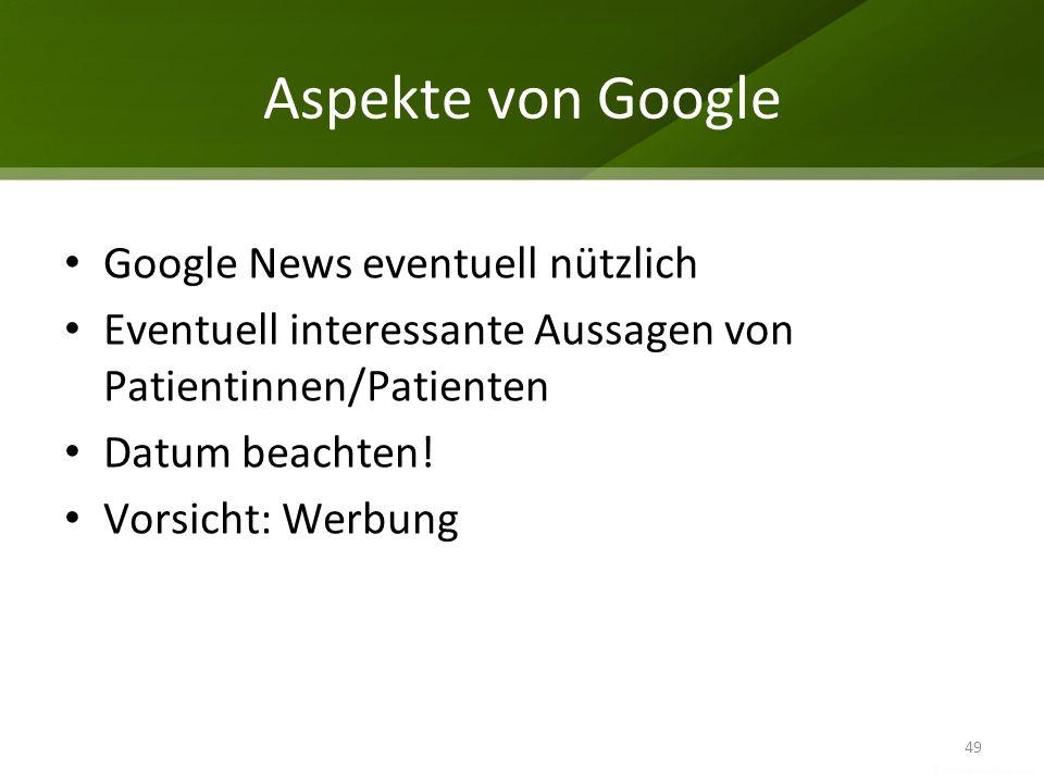 Aspekte von Google Google News eventuell nützlich