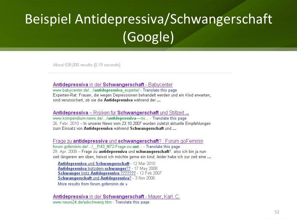 Beispiel Antidepressiva/Schwangerschaft (Google)