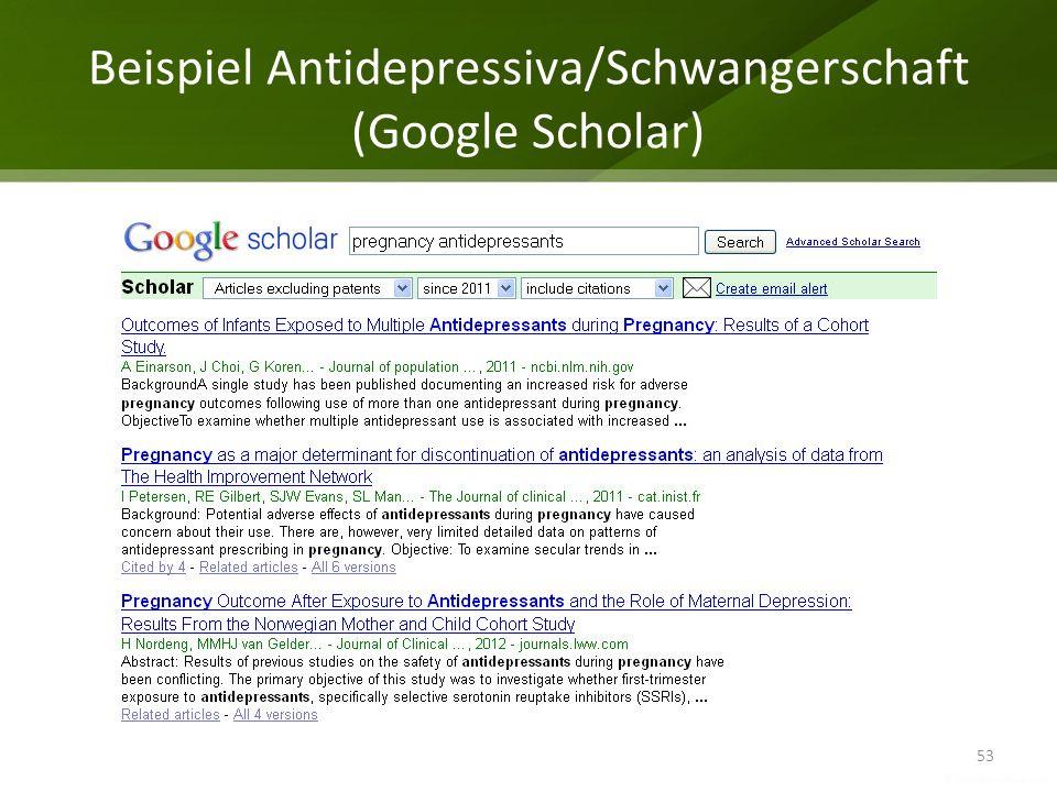 Beispiel Antidepressiva/Schwangerschaft (Google Scholar)