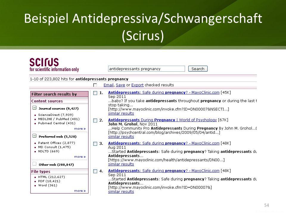 Beispiel Antidepressiva/Schwangerschaft (Scirus)