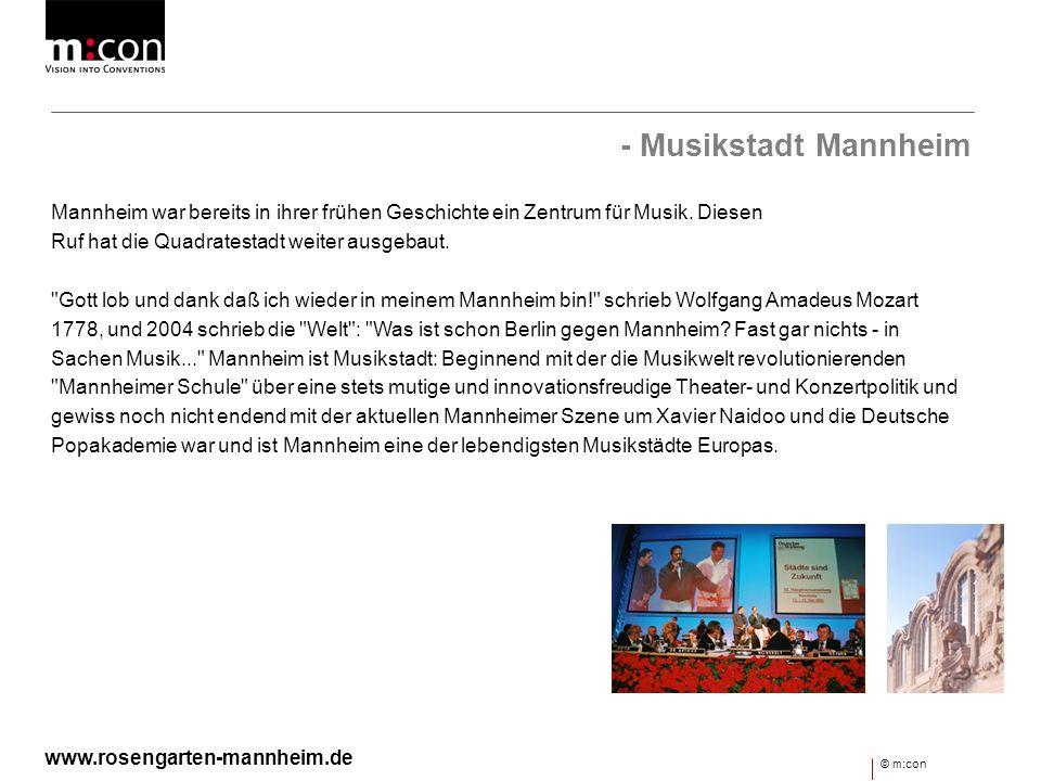 - Musikstadt Mannheim Mannheim war bereits in ihrer frühen Geschichte ein Zentrum für Musik. Diesen.