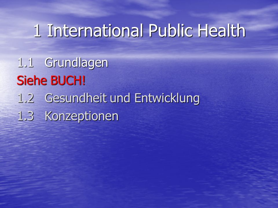 1 International Public Health