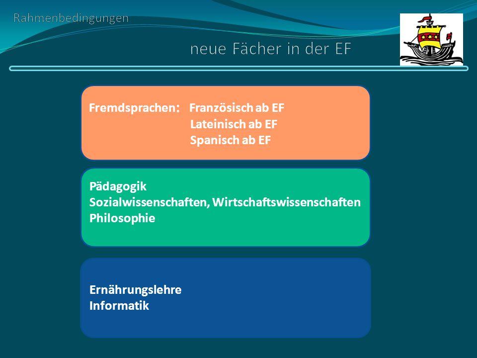 Rahmenbedingungen neue Fächer in der EF