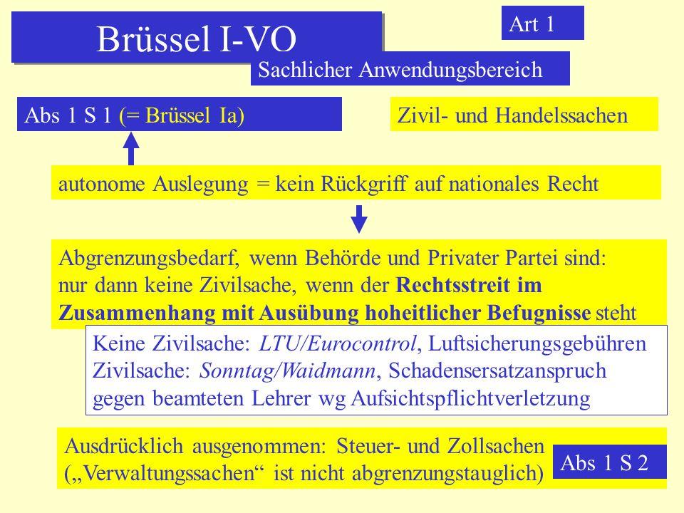 Brüssel I-VO Art 1 Sachlicher Anwendungsbereich