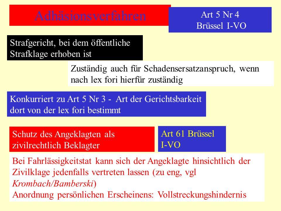 Adhäsionsverfahren Art 5 Nr 4 Brüssel I-VO