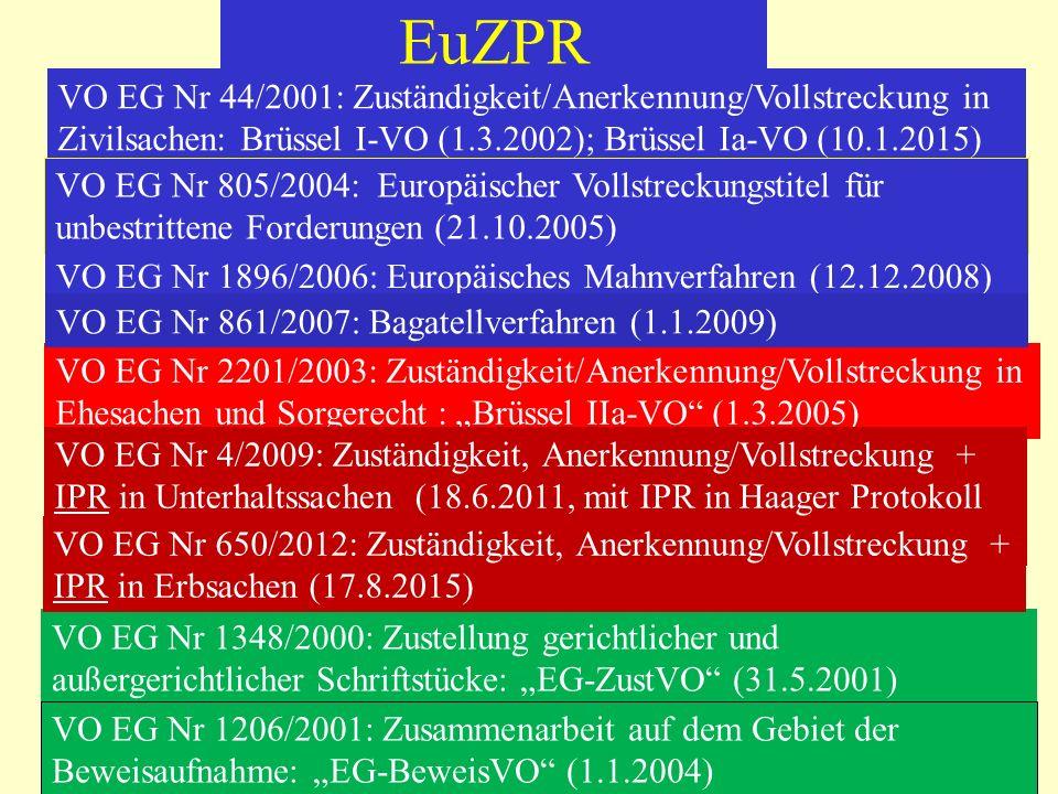 EuZPR VO EG Nr 44/2001: Zuständigkeit/Anerkennung/Vollstreckung in Zivilsachen: Brüssel I-VO (1.3.2002); Brüssel Ia-VO (10.1.2015)