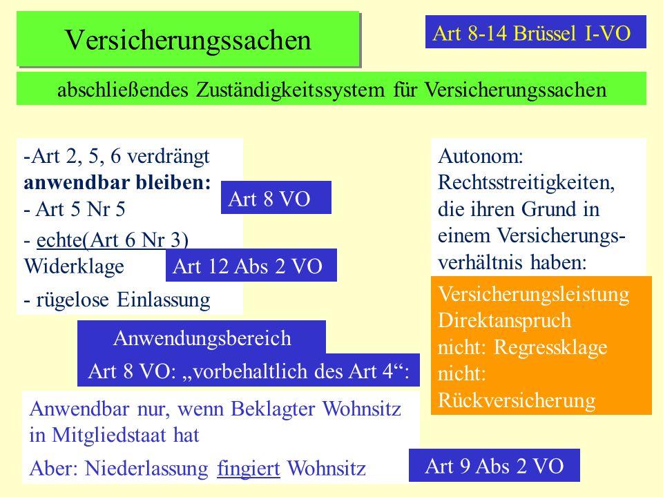 Versicherungssachen Art 8-14 Brüssel I-VO