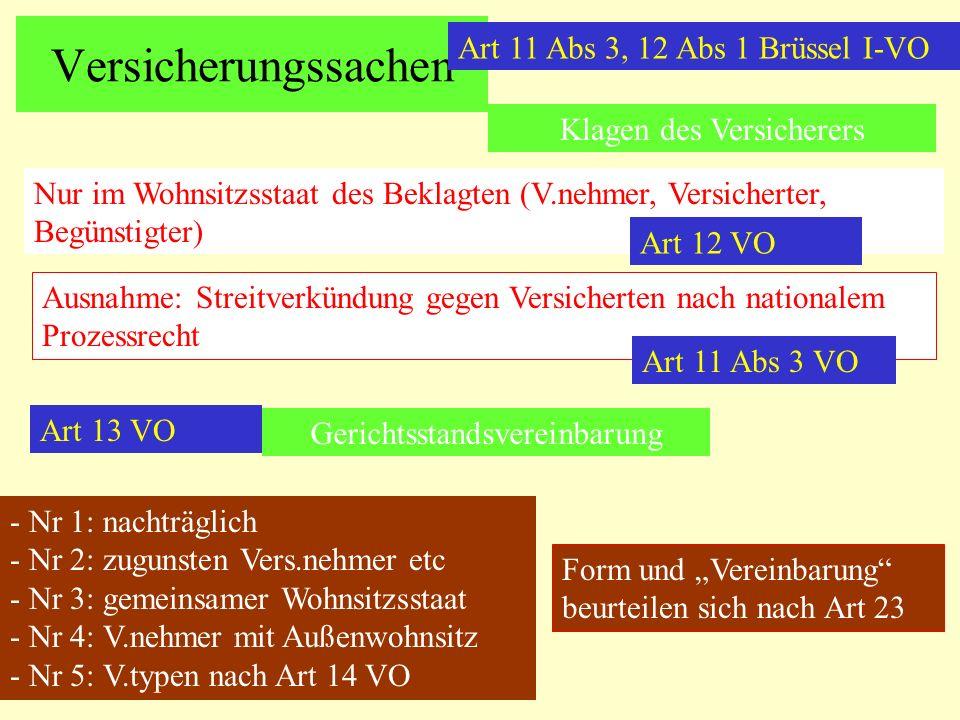 Versicherungssachen Art 11 Abs 3, 12 Abs 1 Brüssel I-VO