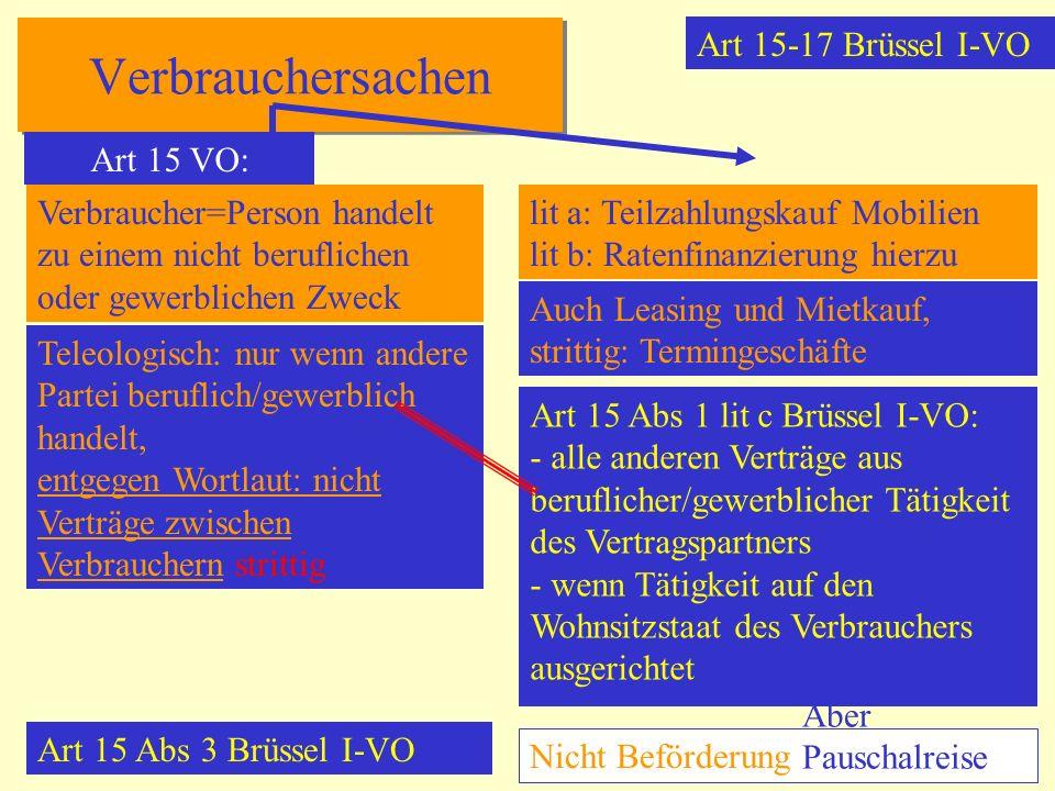 Verbrauchersachen Art 15-17 Brüssel I-VO Art 15 VO: