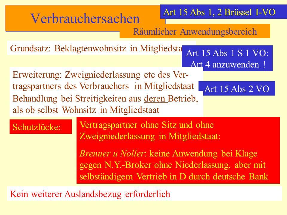 Verbrauchersachen Art 15 Abs 1, 2 Brüssel I-VO