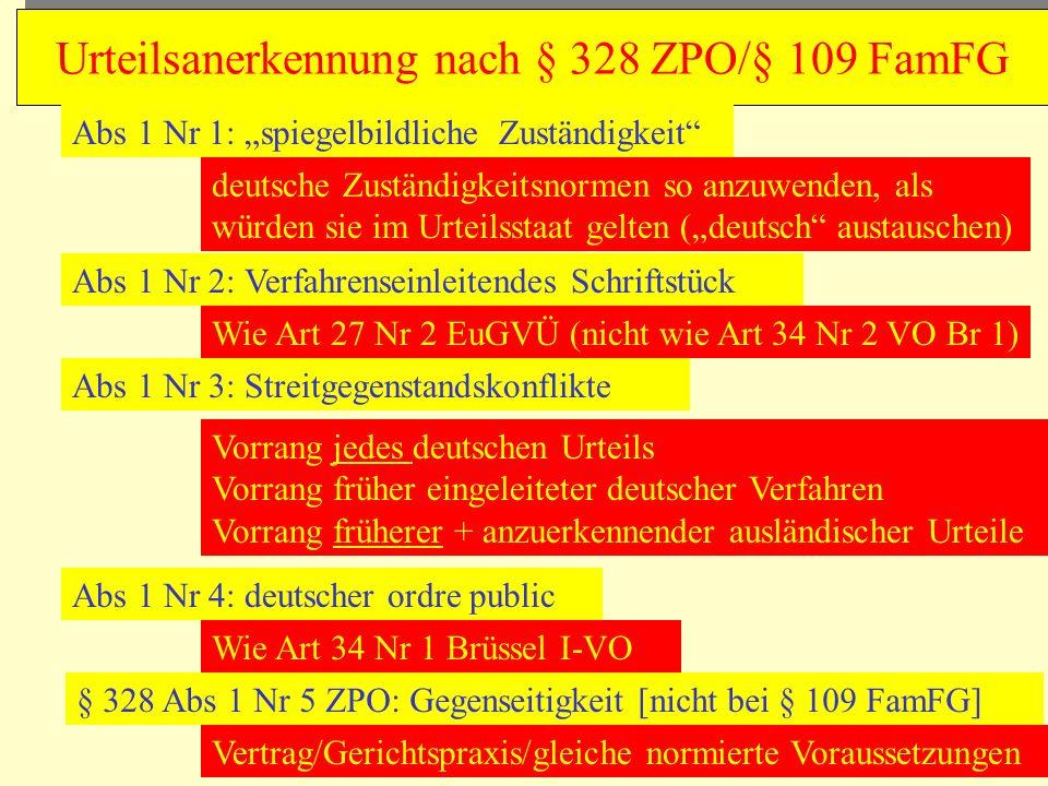 Urteilsanerkennung nach § 328 ZPO/§ 109 FamFG