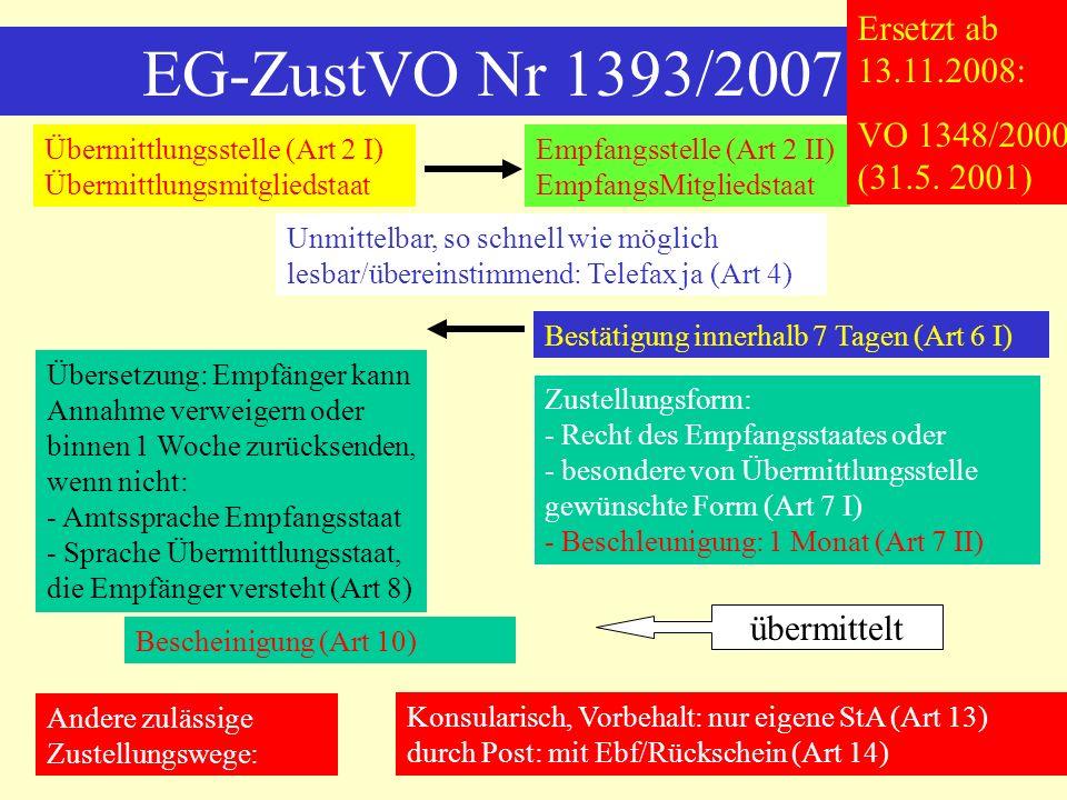 EG-ZustVO Nr 1393/2007 Ersetzt ab 13.11.2008: