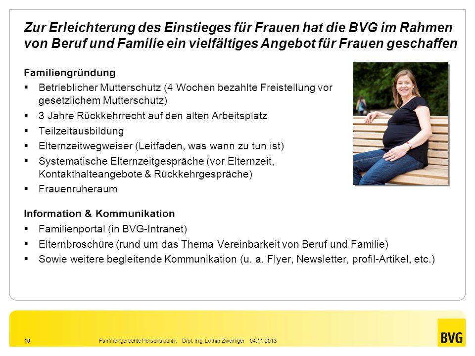 Zur Erleichterung des Einstieges für Frauen hat die BVG im Rahmen von Beruf und Familie ein vielfältiges Angebot für Frauen geschaffen
