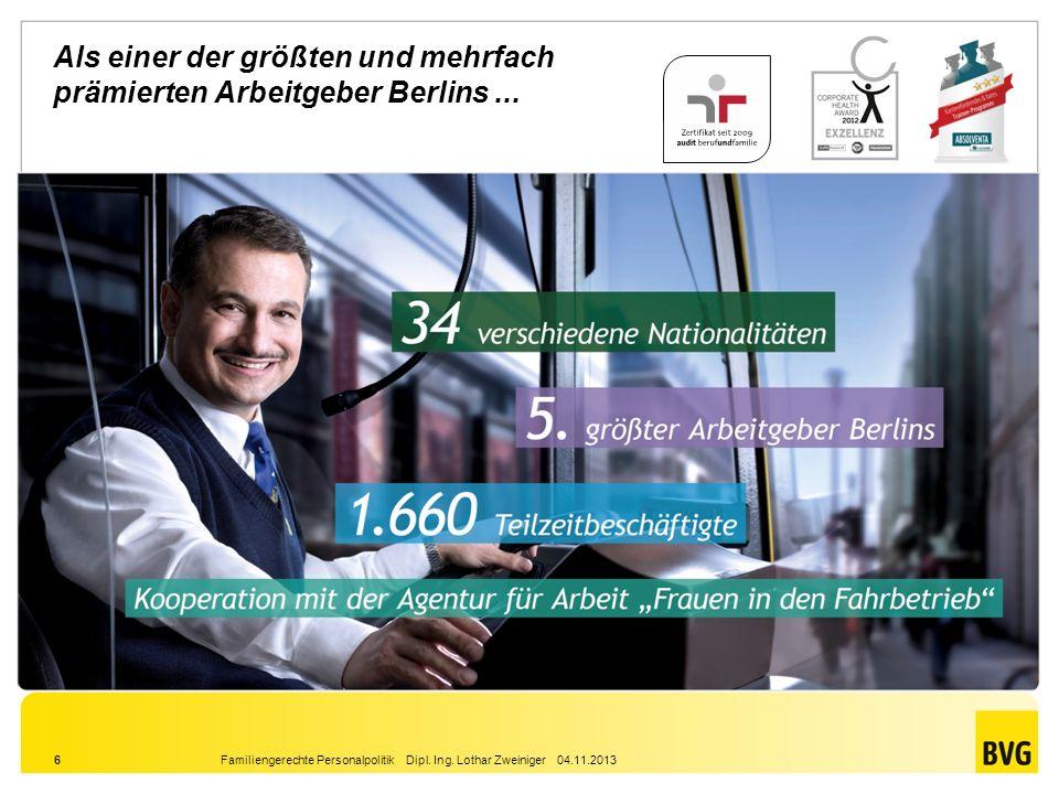 Als einer der größten und mehrfach prämierten Arbeitgeber Berlins ...