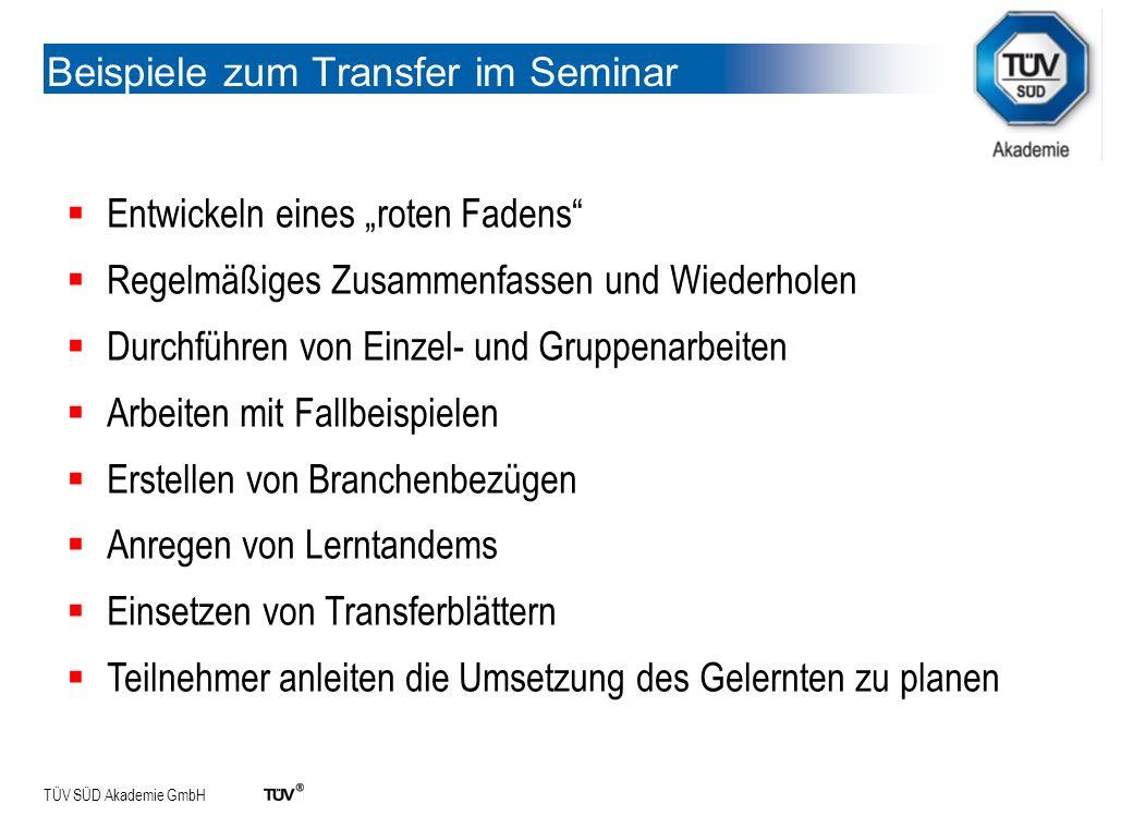 Beispiele zum Transfer im Seminar