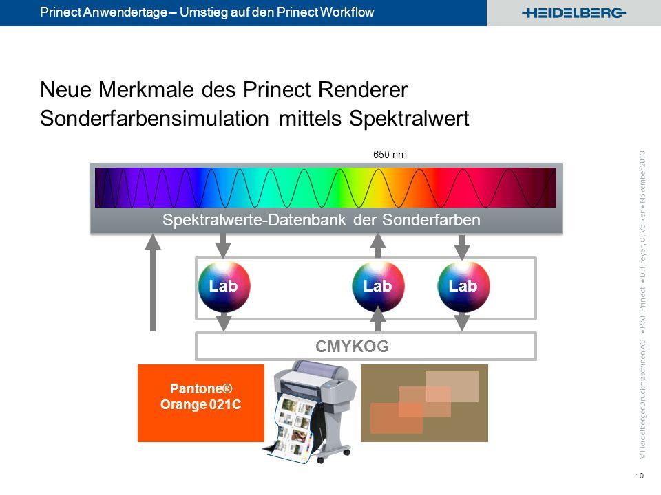 Neue Merkmale des Prinect Renderer Sonderfarbensimulation mittels Spektralwert