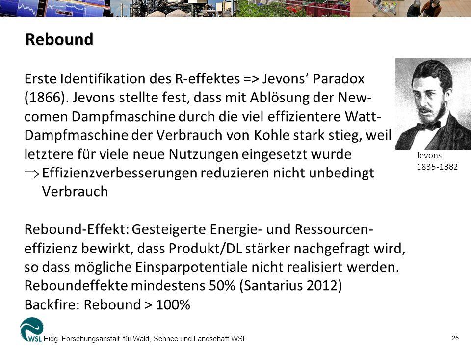Rebound Erste Identifikation des R-effektes => Jevons' Paradox