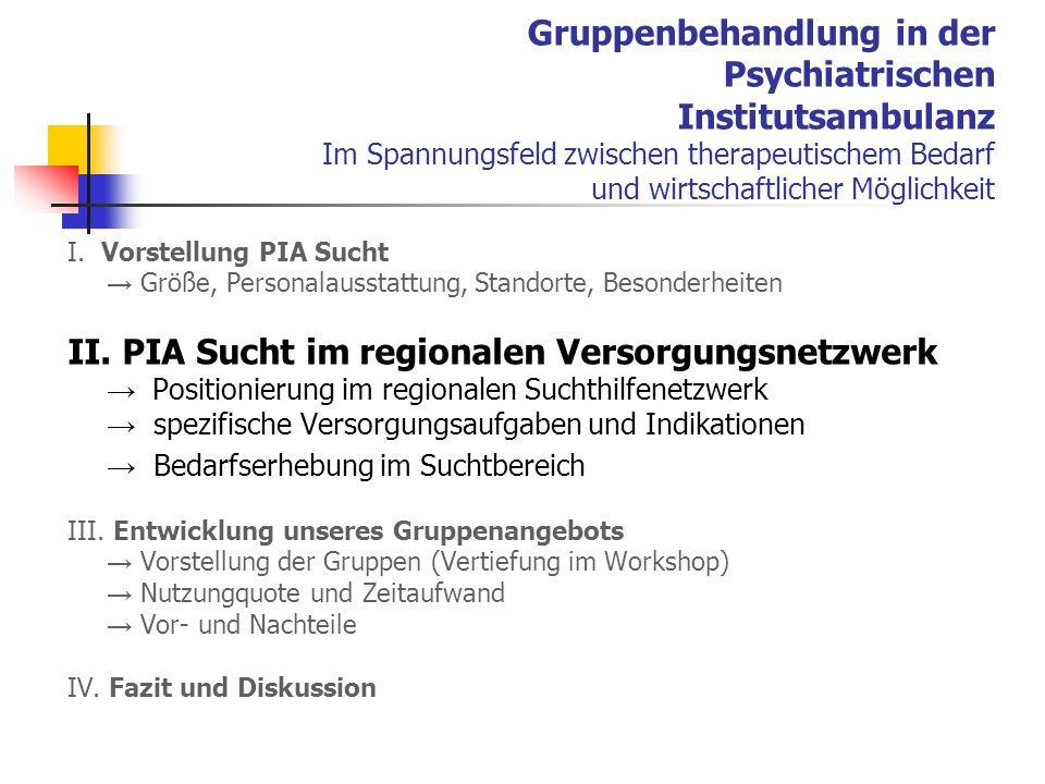 II. PIA Sucht im regionalen Versorgungsnetzwerk